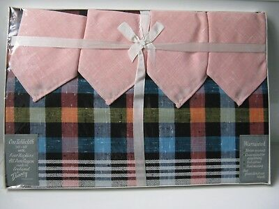 "Vintage Boxed Dunmoy 50"" Square tablecloth with 4 Napkins Woven Checks"