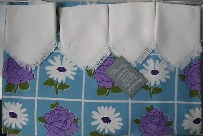 "Vintage Boxed Dunmoy 50"" Square tablecloth with 4 Napkins Printed flowers"
