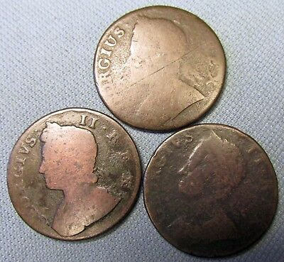 Lot of 3 King George II British US Colonial Copper Halfpenny - 1739 1744 1746