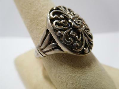 VINTAGE ART DECO STERLING SILVER NATURAL PANITA HEART DESIGN RING, SIZE 9, 5.7g