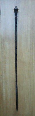 Antique Fireside Old Metal Iron Poker With Faceted Pummel Handle Fire Brutalist