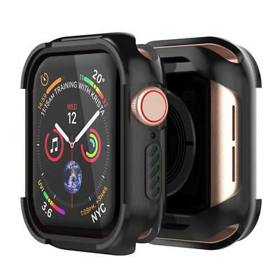 For Apple Watch Series 4 Bumper Case 44mm Screen Protector Rugged Cover Black FS