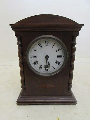 Victorian Oak Barley Twist Mantel Clock, Fully Running,Unusual Cylinder Pendulum