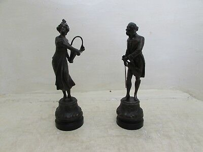 Antique Art Nouveau French Spelter Figures, Man With Violin & Lady With Basket