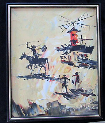 "1978 MORRIS KATZ LARGE 16"" x 20"" OIL ON BOARD PAINTING OF DON QUIXOTE & WINDMILL"