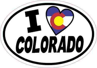 5x3.5 Oval I Love Colorado Sticker Flag Luggage Car Window Bumper Tumbler Decal