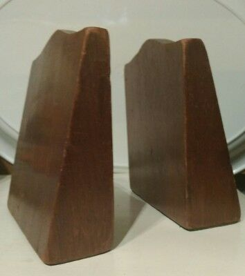 Heavy Hard Wood Bookends Teak? Lumps of hardwood carving??