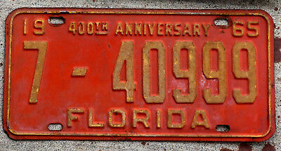 """1965 Yellow on Red Florida """"400th Anniversary"""" License Plate"""