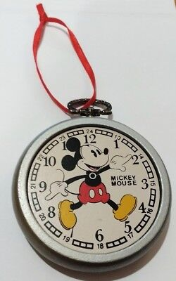 Vintage Mickey Mouse Wooden Pocket Watch Christmas Ornament - Disney Kurt Adler