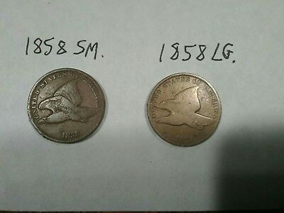 2 ~U.S. FLYING EAGLE  1858 Large and Small Letters,  1C One Cent ~ TWO COINS ~