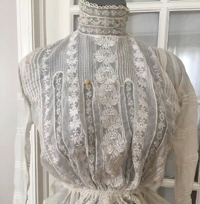 VTG Antique EDWARDIAN Victorian 1900's Blouse Lace n Embroidery
