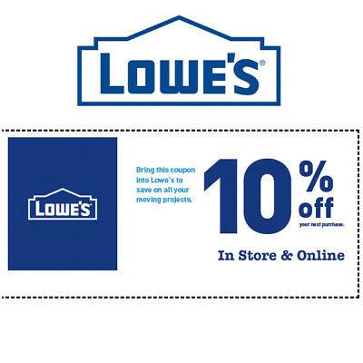 Lowes 10% OFF Your Purchase Coupon * In Store and Online * EXP 1/31/19
