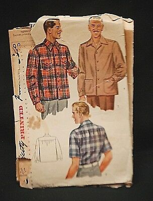Old Vintage 1950's Simplicity Sewing Pattern 1961 Men's Medium Shirt w Pockets