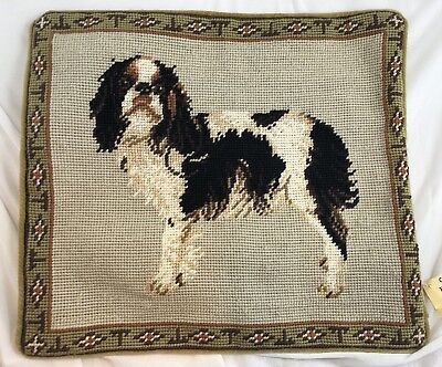 "Cute English Toy Spaniel Dog Needlepoint 15"" x 12"" Velveteen Back w/ Zipper"
