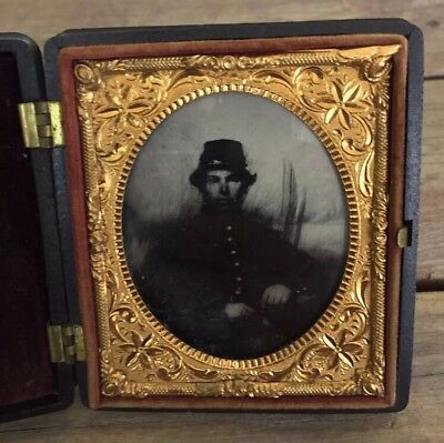 Ambrotype In Patriotic Case Civil War Soldier Capt John O Wallingford 15th NH