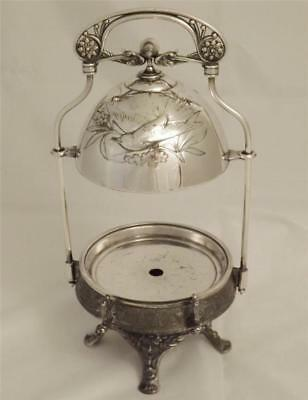 """Victorian Butter Dish in one of the """"Mask"""" patterns by Rogers & Smith from 1860'"""