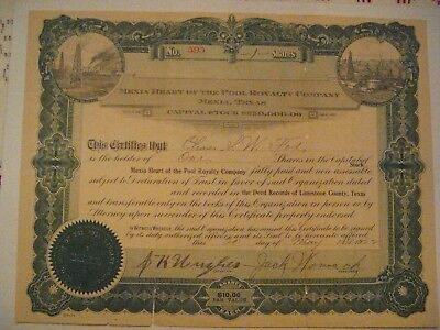 Mexia Heart of The Pool Royalty Co. Mexia, TX., Issued Stock Certificate No. 595
