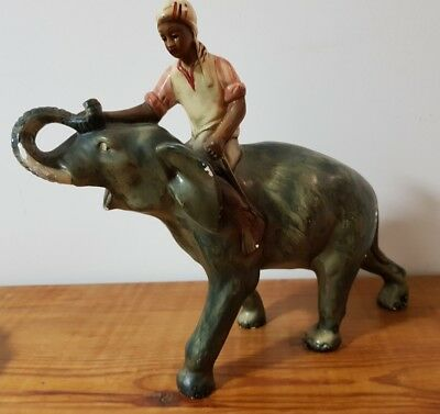 1930s Plaster Elephant and Rider