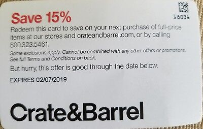 Crate & Barrel 15% off Full-Priced Order Promo Code ~ Exp.02/07/19