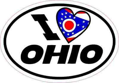 5x3.5 Oval I Love Ohio Sticker Luggage Car Window Bumper Cup Tumbler Flag Decal
