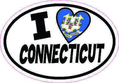 5x3.5 Oval I Love Connecticut Sticker Luggage Car Window Bumper Cup Flag Decal