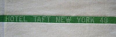 Hotel Taft NY 1948 Guest Towel Vintage Cotton Huck Cloth Green Stripe Cannon