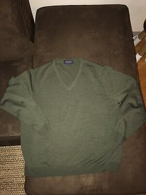 Brooks Brothers Stretch Olive Green Merino Wool Blend Sweater, Nwot, Mens Large