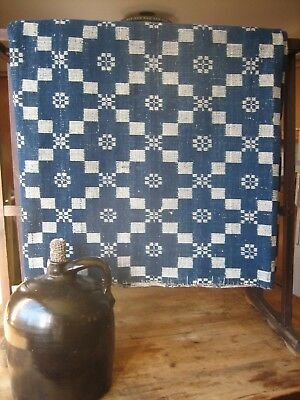 Antique Primitive Hand Woven Large Wool Coverlet - Navy And White Reversable