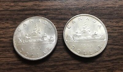 LOT OF 2 1963  CANADA  SILVER DOLLAR COINS WOW!! MUST SEE!! 0.99c NR WOW!!