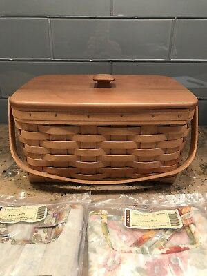 Longaberger Lunch Box Basket Signed With Two Liners