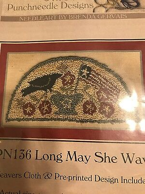 Punchneedle Design Long May She Wave Cloth Pattern Flag Crow