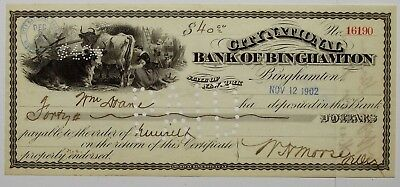 1902 City National Bank of Binghamton New York Deposit Check $40 Cows Farm Dog