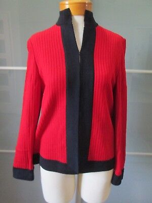 St. John Collection by Marie Gray Santana Knit Red / Black Jacket / Blazer Sz 6