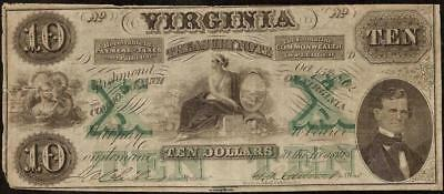 1862 $10 Dollar Bill Virginia Treasury Note Large Currency Old Paper Money