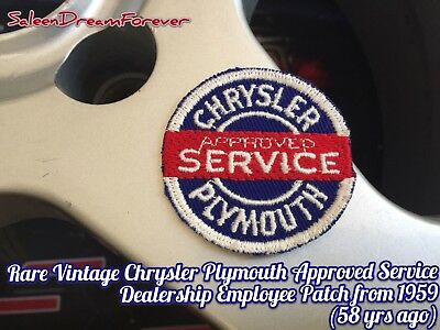 Vintage Chrysler Plymouth Approved Service Employee Embroidered Patch From 1959