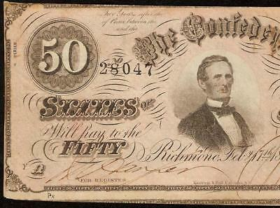 1864 $50 Dollar Confederate States Currency Civil War Note Old Paper Money T-66
