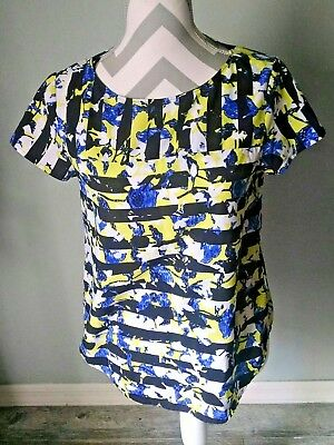 e25d4d4abbfeb Peter Pilotto for Target Green Yellow Floral Stripe Print Top Blouse Size S