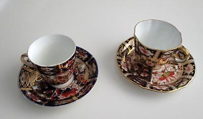 Pair Of Antique Gaudy Imari Cup & Saucers