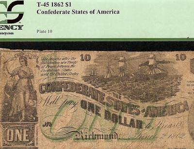 1862 $1 Dollar Bill Confederate States Currency Civil War Note Green T-45 Pcgs