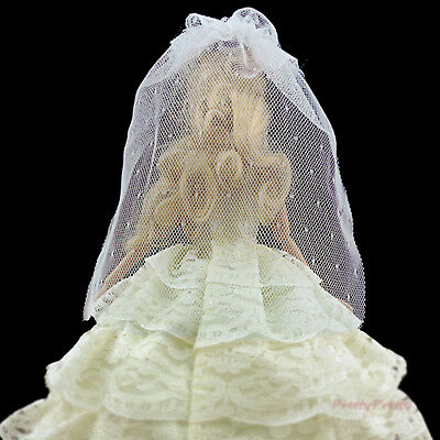 2Pcs White Veil Star Princess Accessories For 12 in. Girl Doll Clothes Wedding