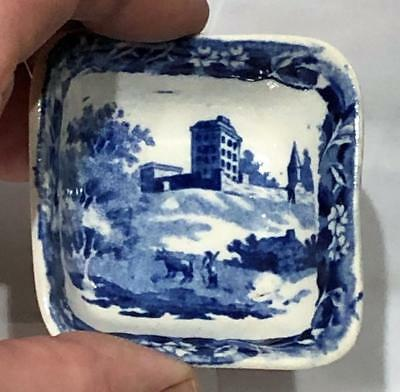 "Antique Staffordshire Blue Transfer Toy Square Bowl,  ""Monastery"" Hackwood, 1835"