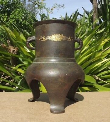 Antique Japanese Bronze Incense Burner Censer