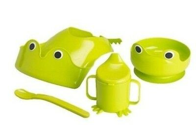 Ikea Mata 4 Piece Baby Toddler Dinner Set Eating Green Frog Bowl Cup Bib Spoon