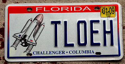 Florida Challenger Tribute License Plate Version #3 with a 2009 Sticker