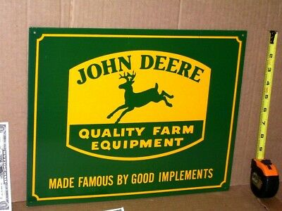 JOHN DEERS - Good Implements SIGN -4 Legged GREEN DEERE Kicking Hind Feet In Air