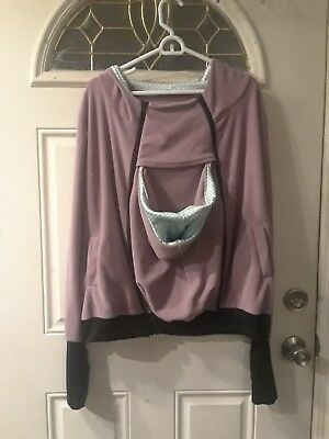 Baby holder Zip Up Hoodie with child pouch maternity pregnant - purple XL