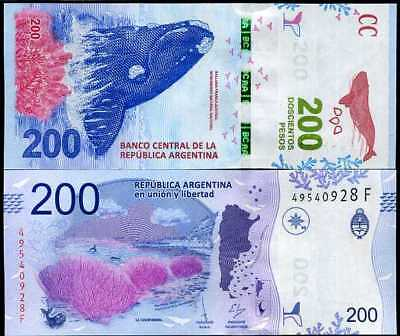 Argentina 200 Pesos Nd 2018 / 2019 P New Design Series F Unc Nr