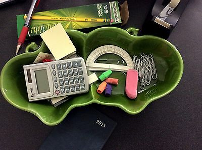 Maddux California Green Apple Ceramic Divided Dish DESK ORGANIZER Teacher Gift
