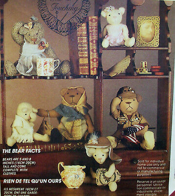 """5"""" & 8"""" Bear Dolls & Clothing, uncut sewing pattern,  Soldier, Mama, Baby"""