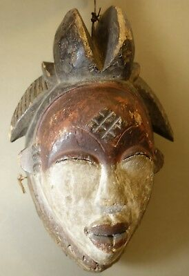 100% Authentic Wood African Tribal Punu Mask From Gabon